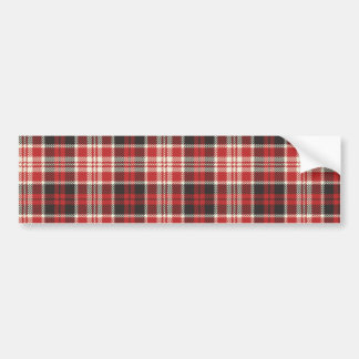 Red and Black Plaid Pattern Bumper Sticker