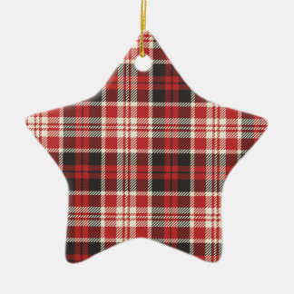 Red and Black Plaid Pattern Ceramic Star Ornament