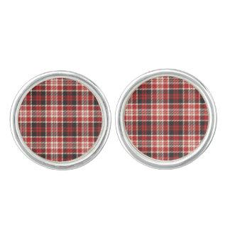 Red and Black Plaid Pattern Cufflinks