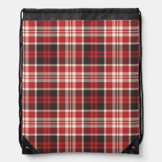 Red and Black Plaid Pattern Drawstring Bag