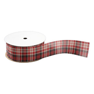 Red and Black Plaid Pattern Grosgrain Ribbon