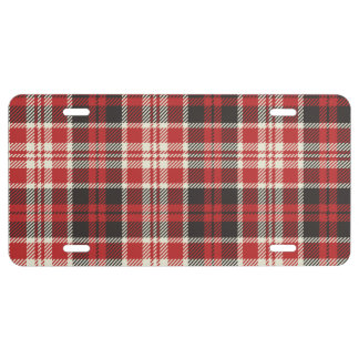 Red and Black Plaid Pattern License Plate