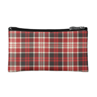 Red and Black Plaid Pattern Makeup Bags