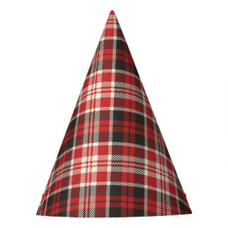 Red and Black Plaid Pattern Party Hat