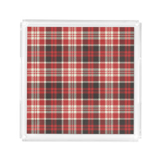 Red and Black Plaid Pattern Perfume Tray