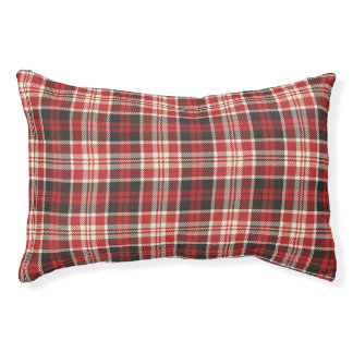 Red and Black Plaid Pattern Pet Bed