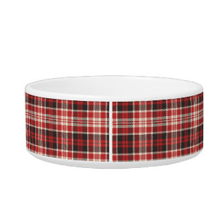 Red and Black Plaid Pattern Pet Bowl