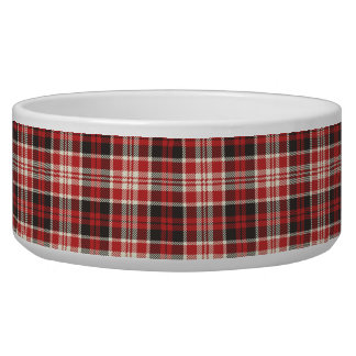Red and Black Plaid Pattern Pet Food Bowl