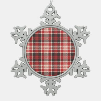 Red and Black Plaid Pattern Pewter Snowflake Ornament
