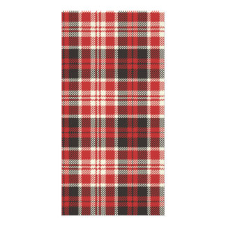 Red and Black Plaid Pattern Photo Card