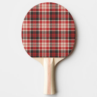 Red and Black Plaid Pattern Ping Pong Paddle