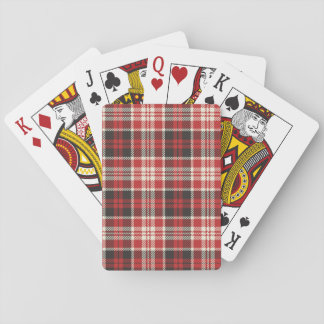 Red and Black Plaid Pattern Poker Deck