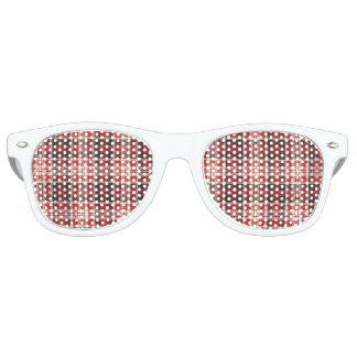 Red and Black Plaid Pattern Retro Sunglasses