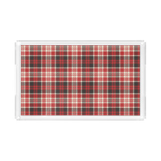 Red and Black Plaid Pattern Serving Tray