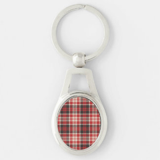 Red and Black Plaid Pattern Silver-Colored Oval Keychain