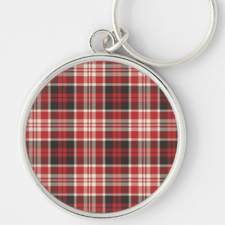 Red and Black Plaid Pattern Silver-Colored Round Keychain