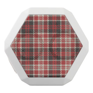 Red and Black Plaid Pattern White Bluetooth Speaker