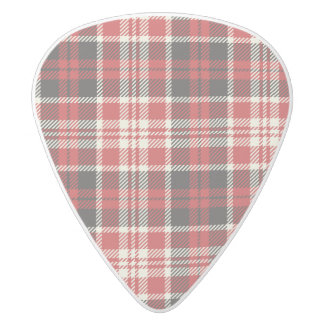 Red and Black Plaid Pattern White Delrin Guitar Pick