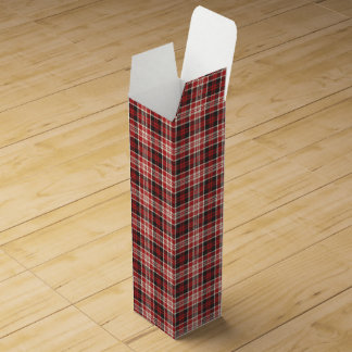 Red and Black Plaid Pattern Wine Gift Box