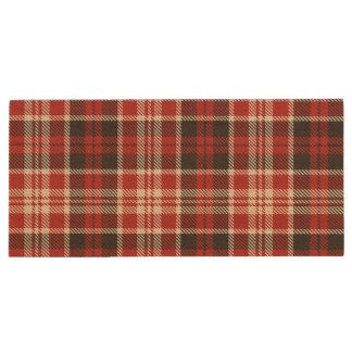 Red and Black Plaid Pattern Wood USB Flash Drive