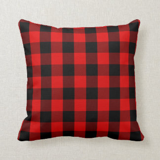 Red and black plaid pillow