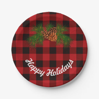 Red and Black plaid - pine cones Paper Plate