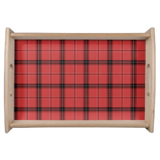 Red and Black Plaid Tartan Fancy Winter Pattern Serving Tray