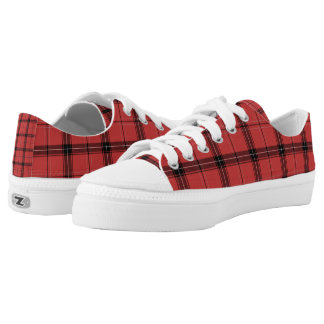 Red and Black Plaid Tartan Holiday Winter Pattern Low-Top Sneakers