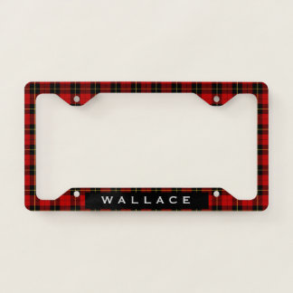 Red and Black Plaid Wallace Tartan Personalized License Plate Frame