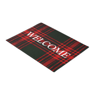 red and black plaid - welcome doormat