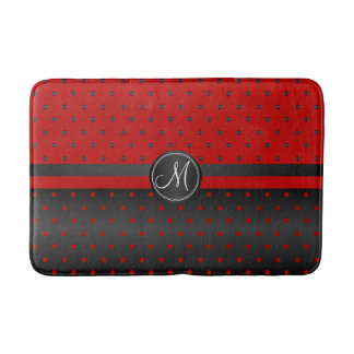 Red and Black Polka Dot Pattern Bathroom Mat