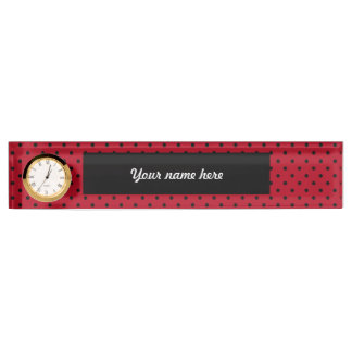 Red and Black Polka Dots Desk Nameplates
