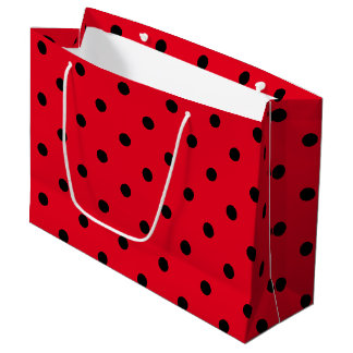 Red and Black Polka Dots Large Gift Bag