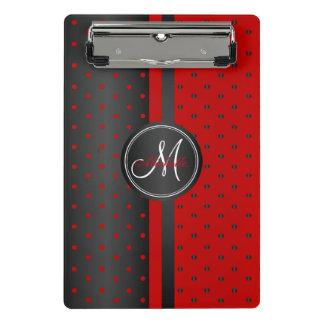 Red and Black Polka Dots - Monogram Mini Clipboard
