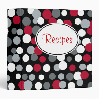 Red and Black Polka Dots Recipe Binder