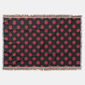 Red and black polka dots throw