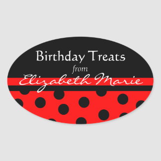 Red and Black Polka Dots with Name Oval Sticker