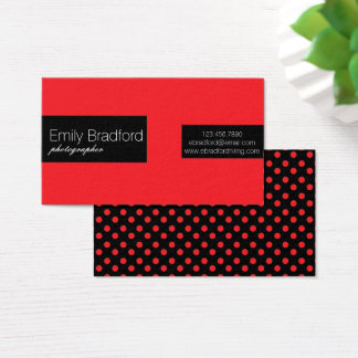 Red and Black Polkadot Business Cards