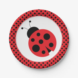 Red and Black Polkadot Ladybug Party Plates