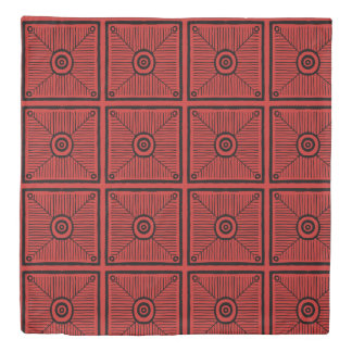 Red and Black Primitive Tribal Pattern Duvet Cover