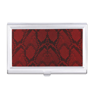 Red and Black Python Snake Skin Reptile Scales Business Card Holder