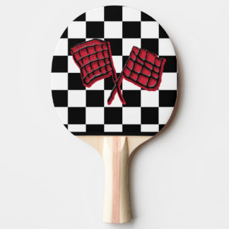 Red and black Race flag Ping Pong Paddle