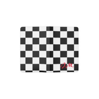 Red and black race flag square pattern pocket moleskine notebook