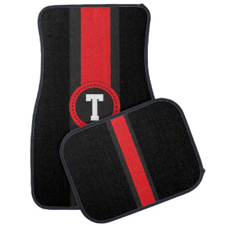 Red and Black Racing Stripe | Monogrammed Car Floor Carpet