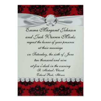 """red and black romantic damask 4.5"""" x 6.25"""" invitation card"""