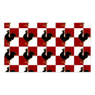Red and Black Rooster Chicken Pattern Business Card