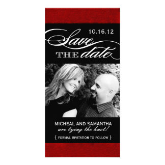 Red and Black Save the Date Photo Cards