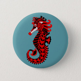 Red and Black Seahorse 2 Inch Round Button