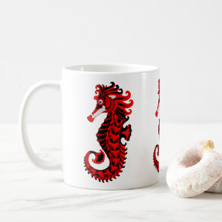 Red and Black Seahorse Coffee Mug