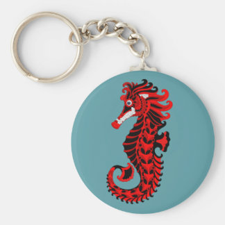Red and Black Seahorse Keychain